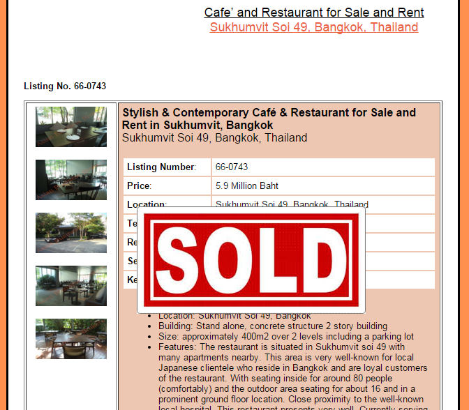 We Want to Sell your Cafe or Restaurant in Thailand